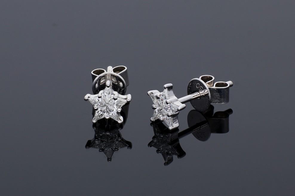 Bijuterii din aur - Cercei din aur 18K alb stelute cu diamante