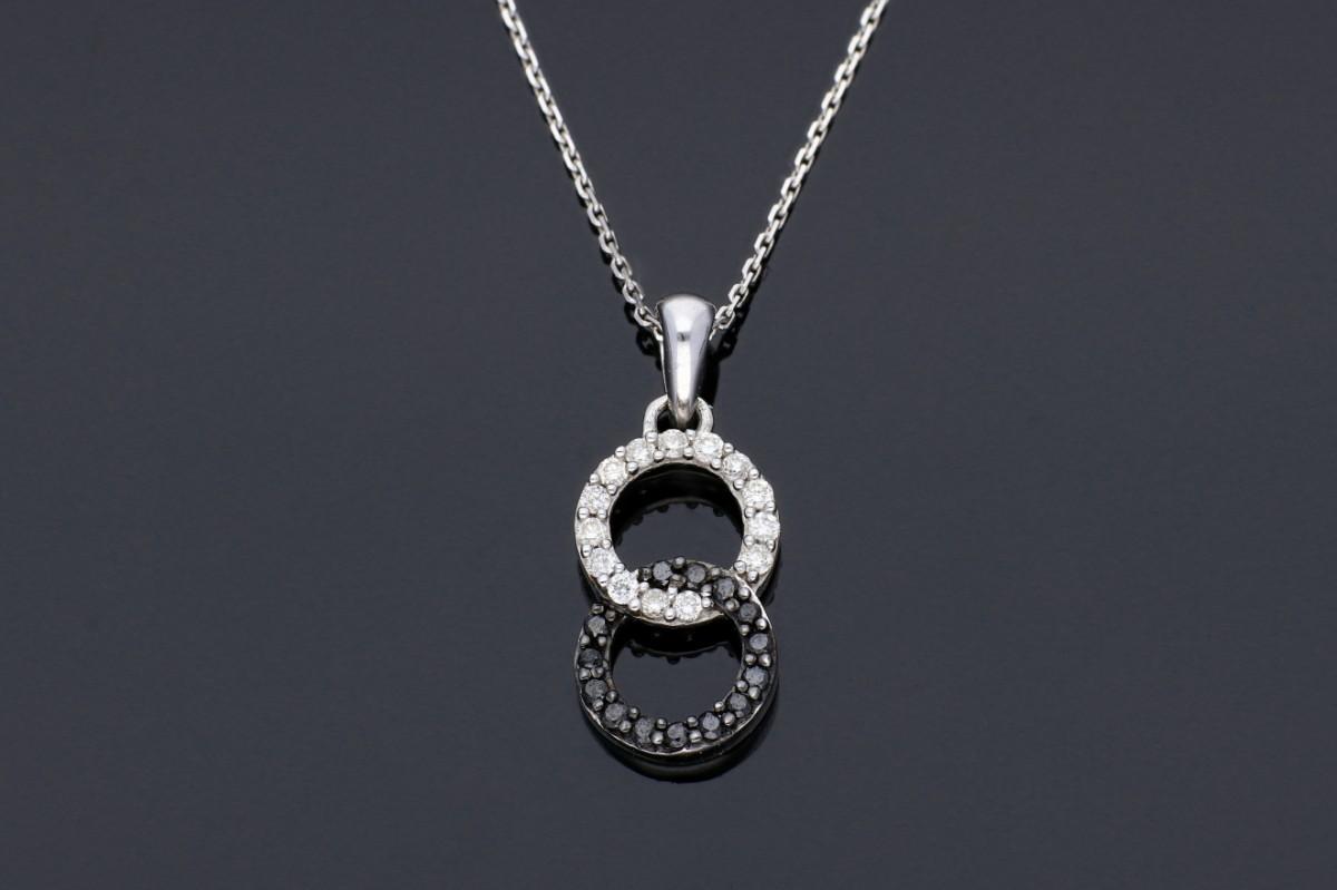 Bijuterii aur - Lant cu pandant aur 14K alb cu diamante