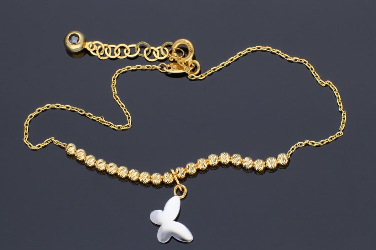 Bijuterii din aur - Bratari mobile dama aur 14K galben si alb bilute si fluturas