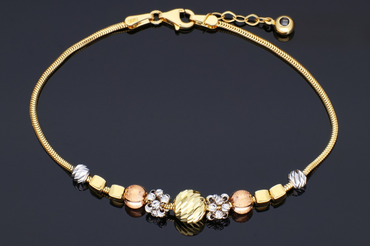 Bijuterii din aur - Bratari mobile din aur 14K galben, alb si roz bilute