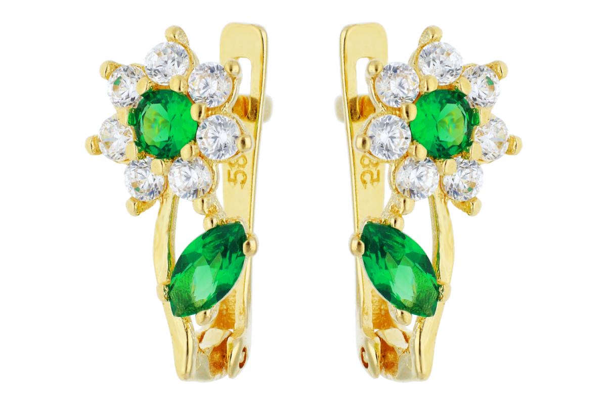 Bijuterii din aur - Cercei copii aur 14K galben zirconia smarald