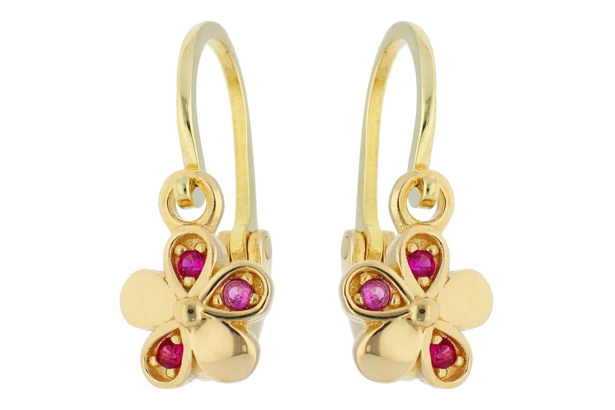 Bijuterii din aur - Cercei copii din aur 14K galben floricica cristale zirconia