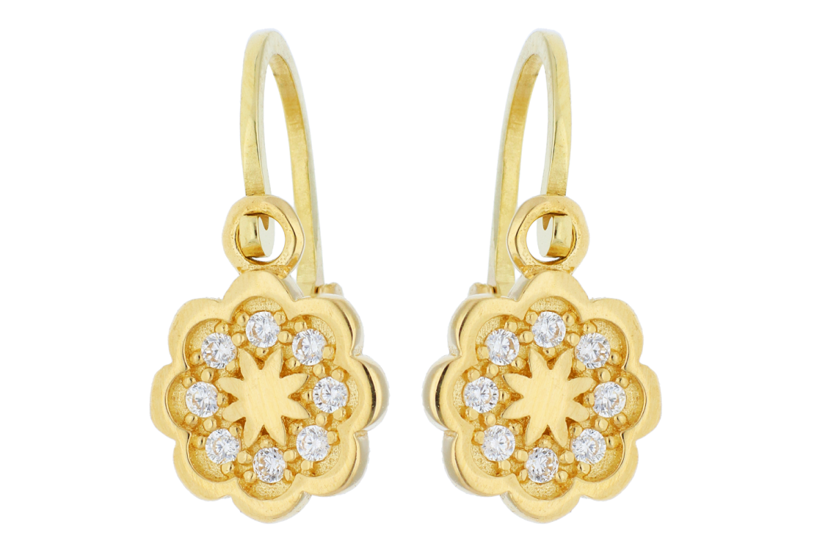 Bijuterii din aur - Cercei copii din aur 14K galben floricica cu zirconii