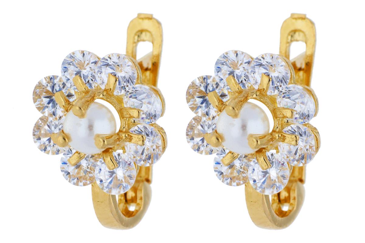Bijuterii din aur - Cercei copii din aur 14K galben perla si zirconii
