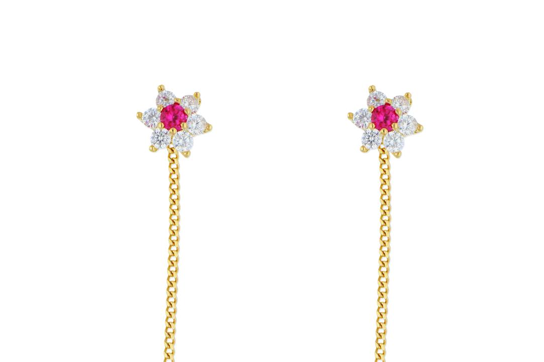 Bijuterii din aur - Cercei cu lant dama aur 14K galben floricica zirconia siclam