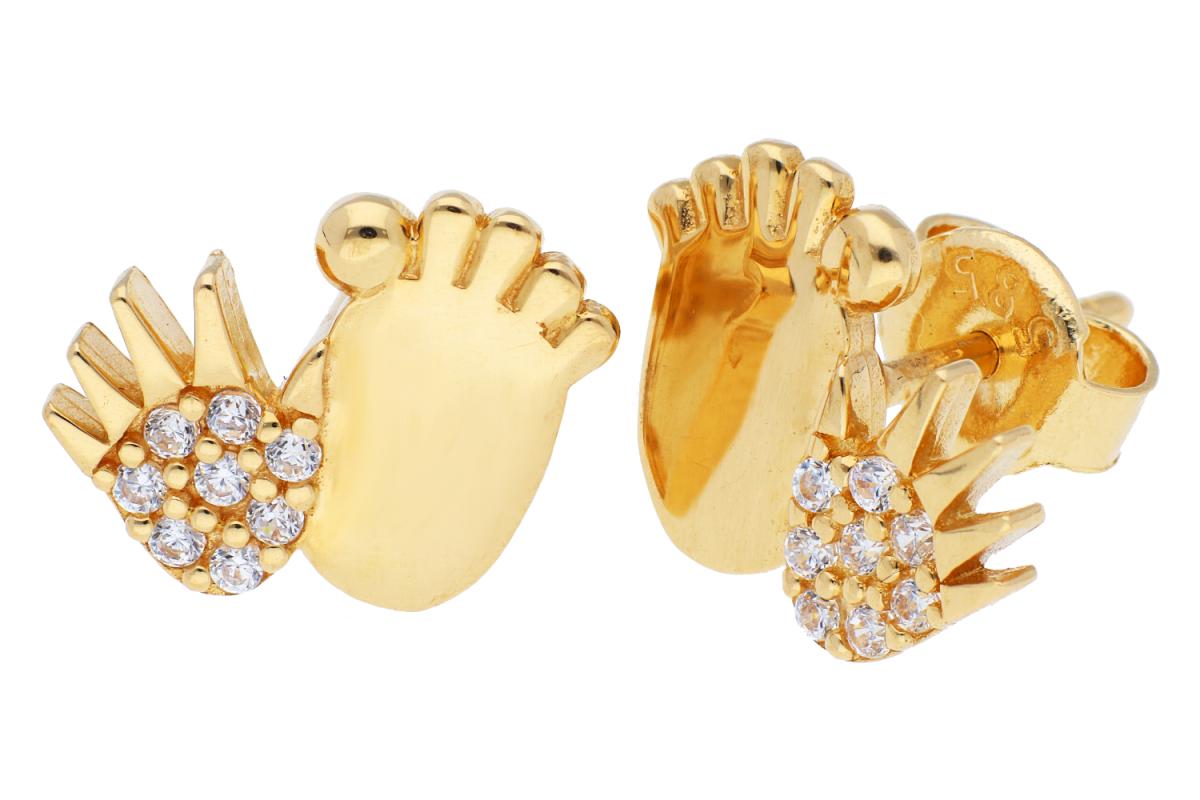 Bijuterii din aur - Cercei cu surub dama din aur 14K galben manuta piciorus