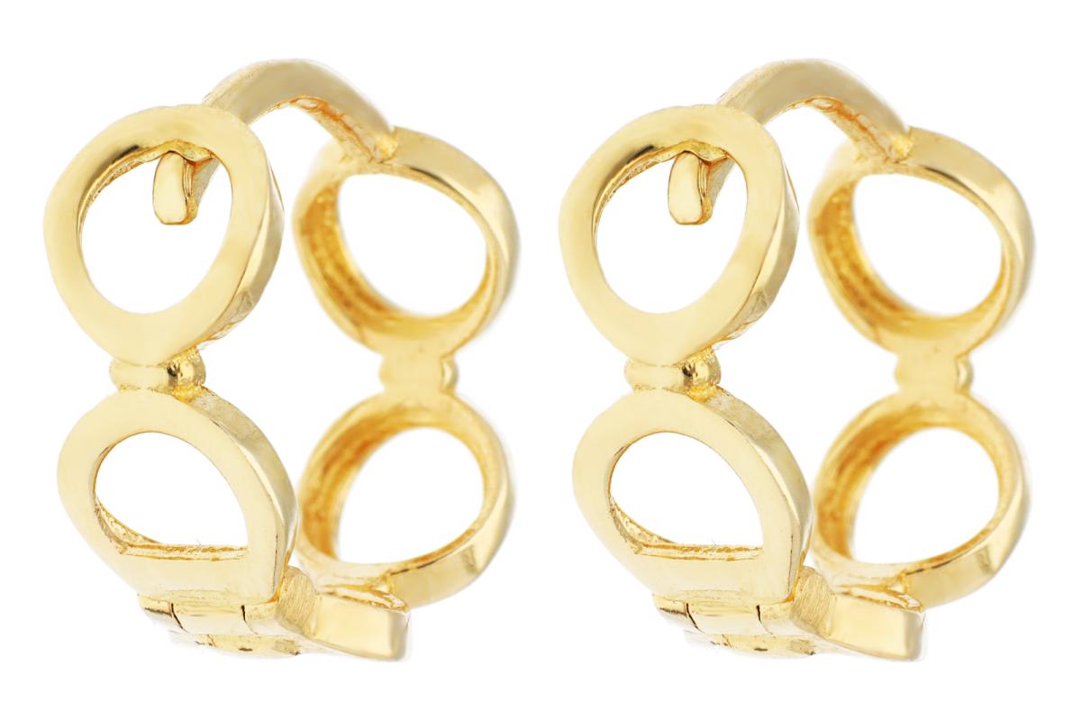 Bijuterii din aur - Cercei rotunzi dama din aur 14K galben cerculete