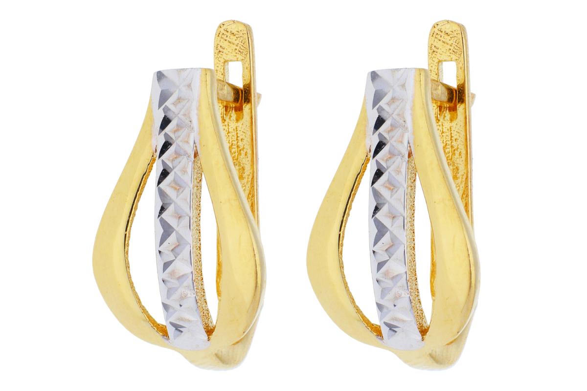 Bijuterii din aur - Cercei rotunzi din aur 14K galben si alb