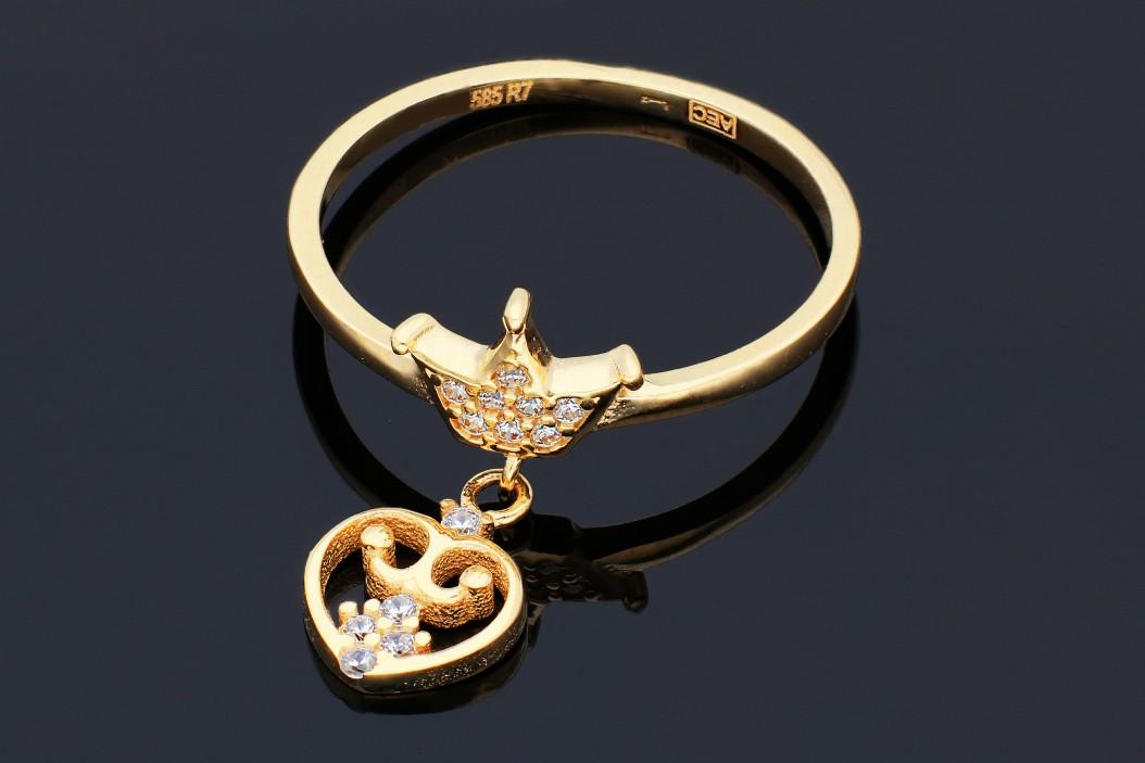 Bijuterii din aur - Inel cu charm dama aur 14K galben coronita si inimioara