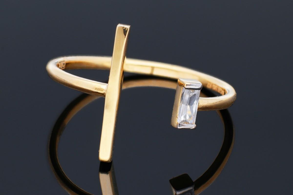 Bijuterii din aur - Inele dama din aur 14K galben minimalist usor reglabil
