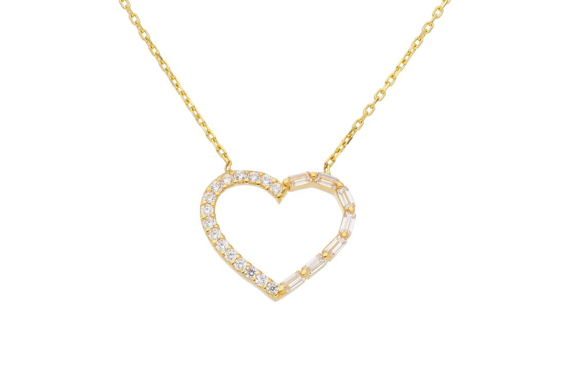Bijuterii din aur - Lantisoare cu pandantiv dama din aur 14K galben inimioara si zirconii albe
