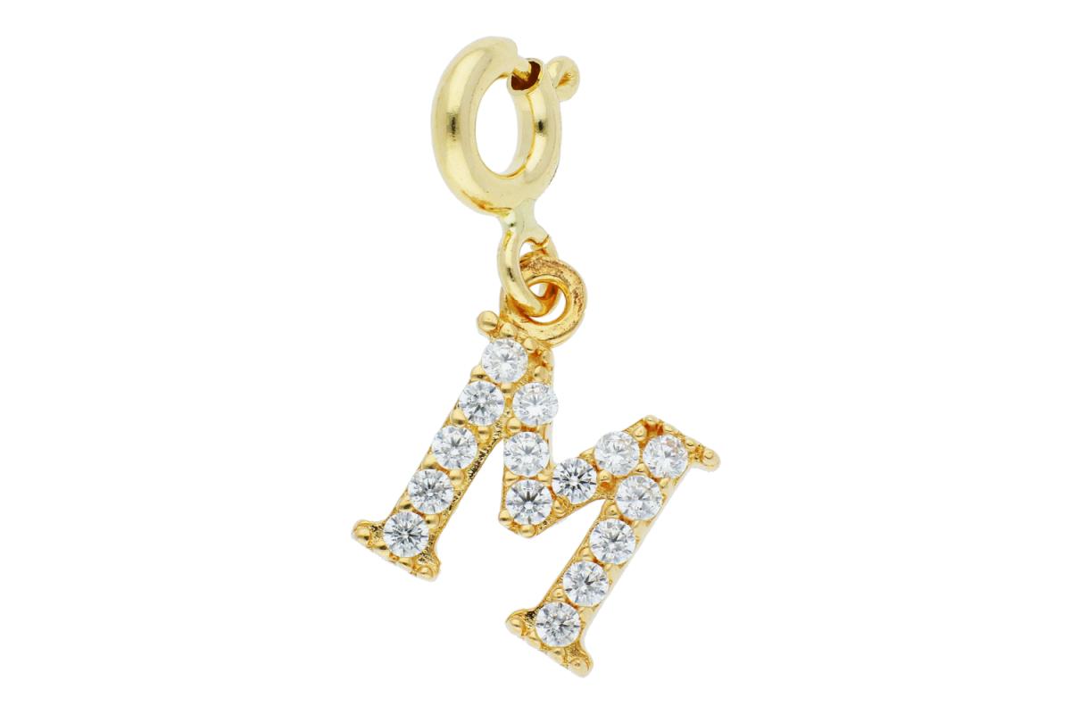 Bijuterii din aur - Medalioane aur 14K galben cu carabina litera M