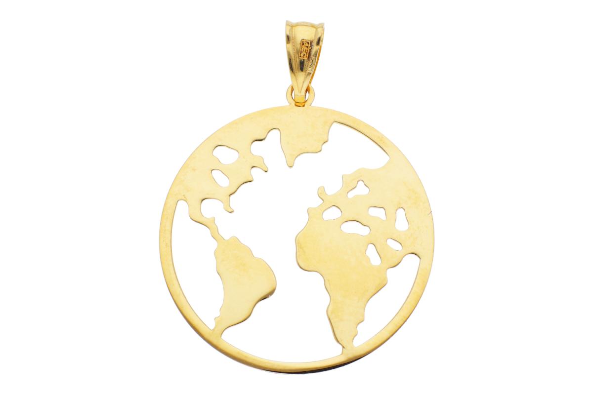 Bijuterii din aur - Medalion glob din aur 14K galben