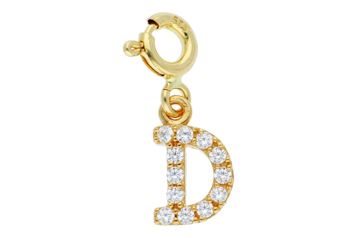 Bijuterii din aur - Pandant dama aur 14K galben cu carabina litera D