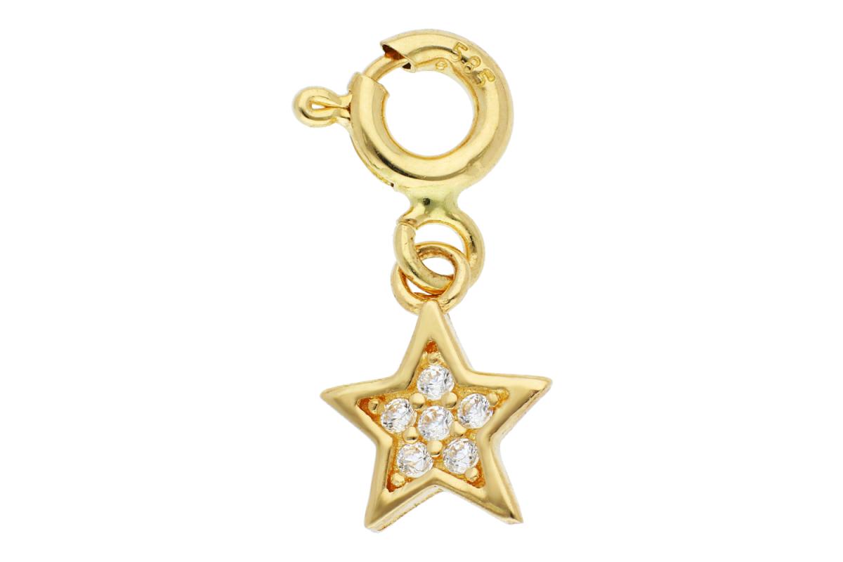 Bijuterii din aur - Pandantiv cu carabina steluta cu zirconii dama din aur 14K galben