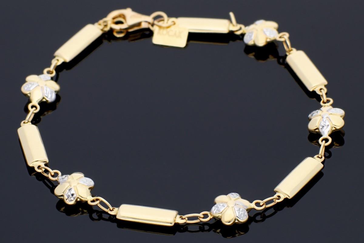 Bratara aur 14 k bijuterii dama floricele