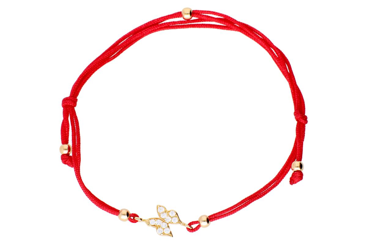 Bratara cu snur rosu din aur 14K galben fluturas