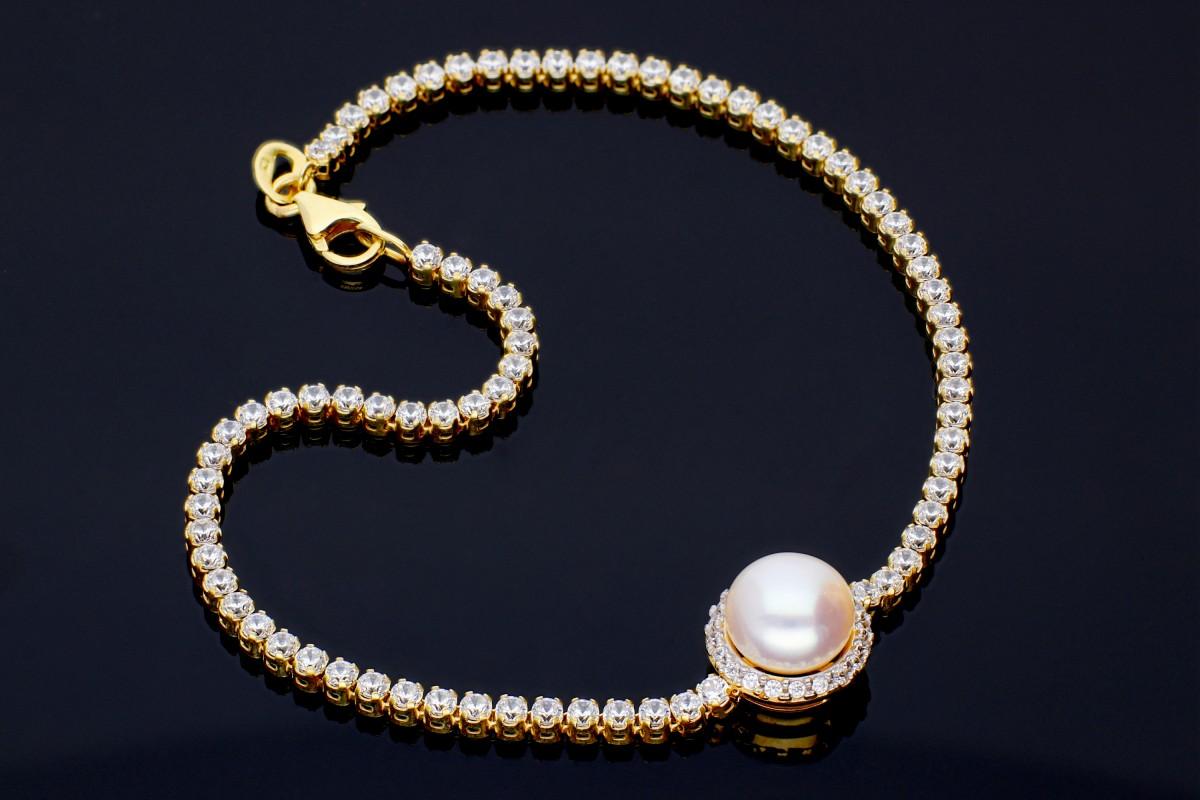 Bijuterii aur online - Bratari mobile dama aur 14K galben tip tenis perluta