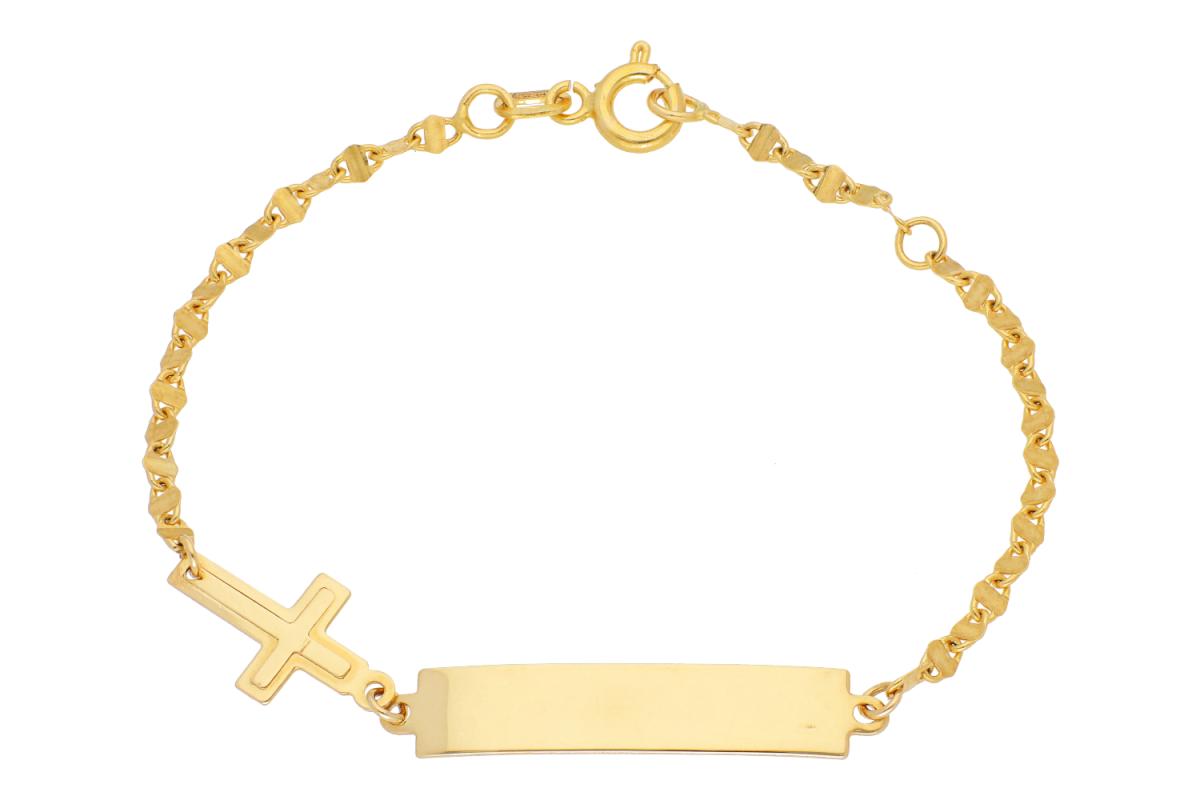 Bijuterii aur online - Bratara copii aur 14K galben placuta