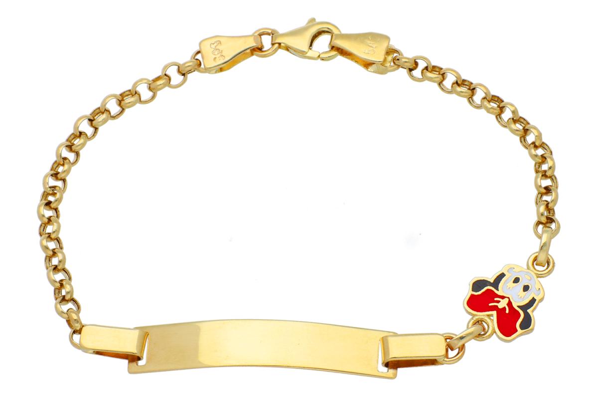 Bratara copii din aur 14K galben minnie si placuta