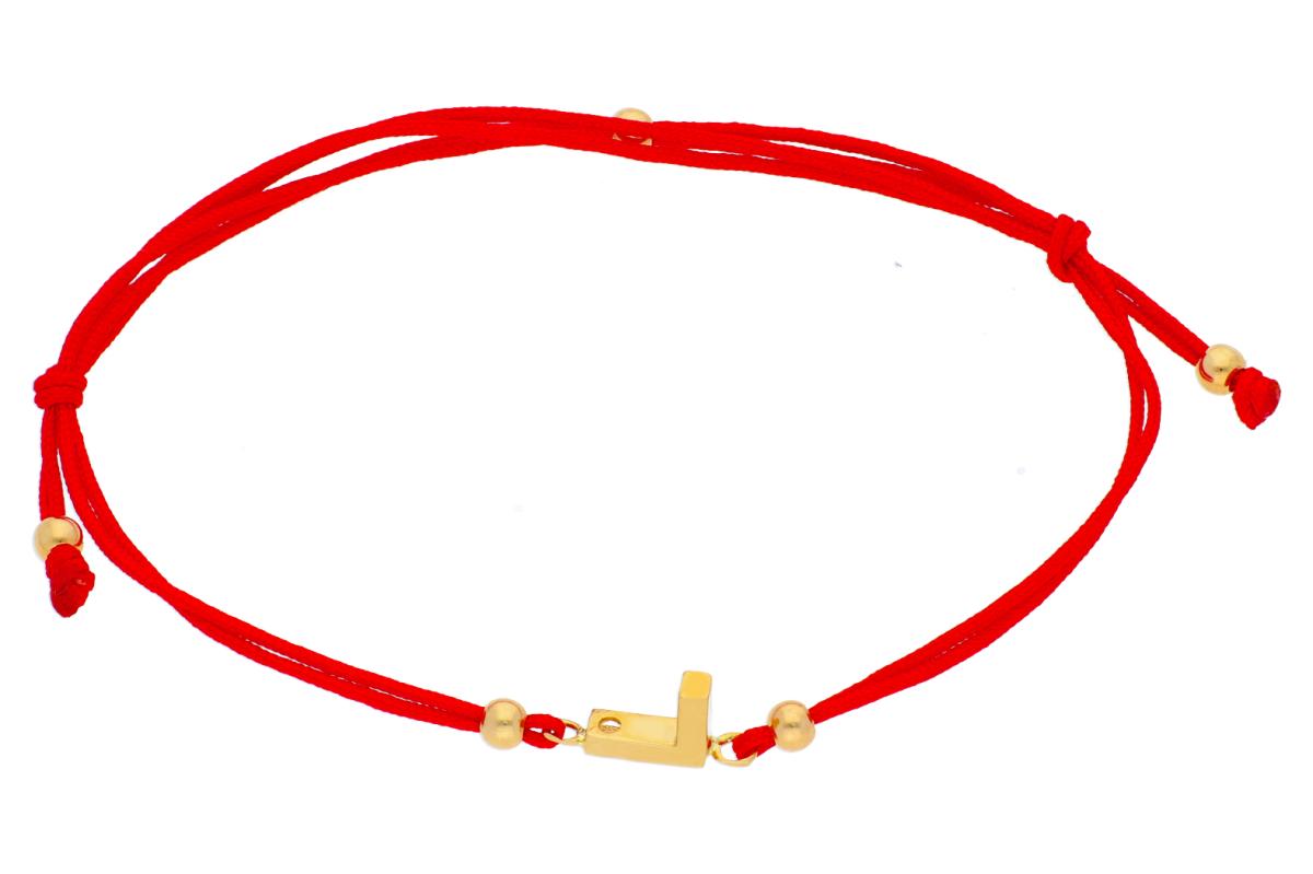 Bratara cu snur aur 14K galben initiala L