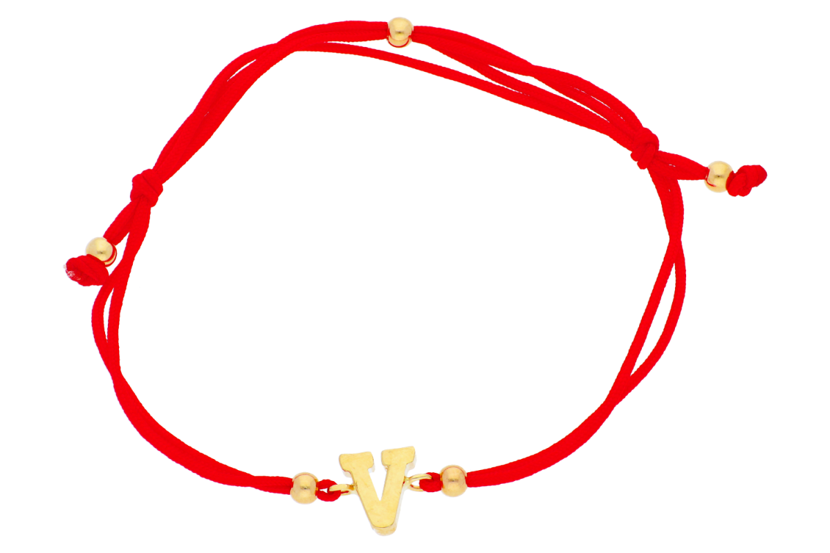 Bratara cu snur aur 14K galben initiala V
