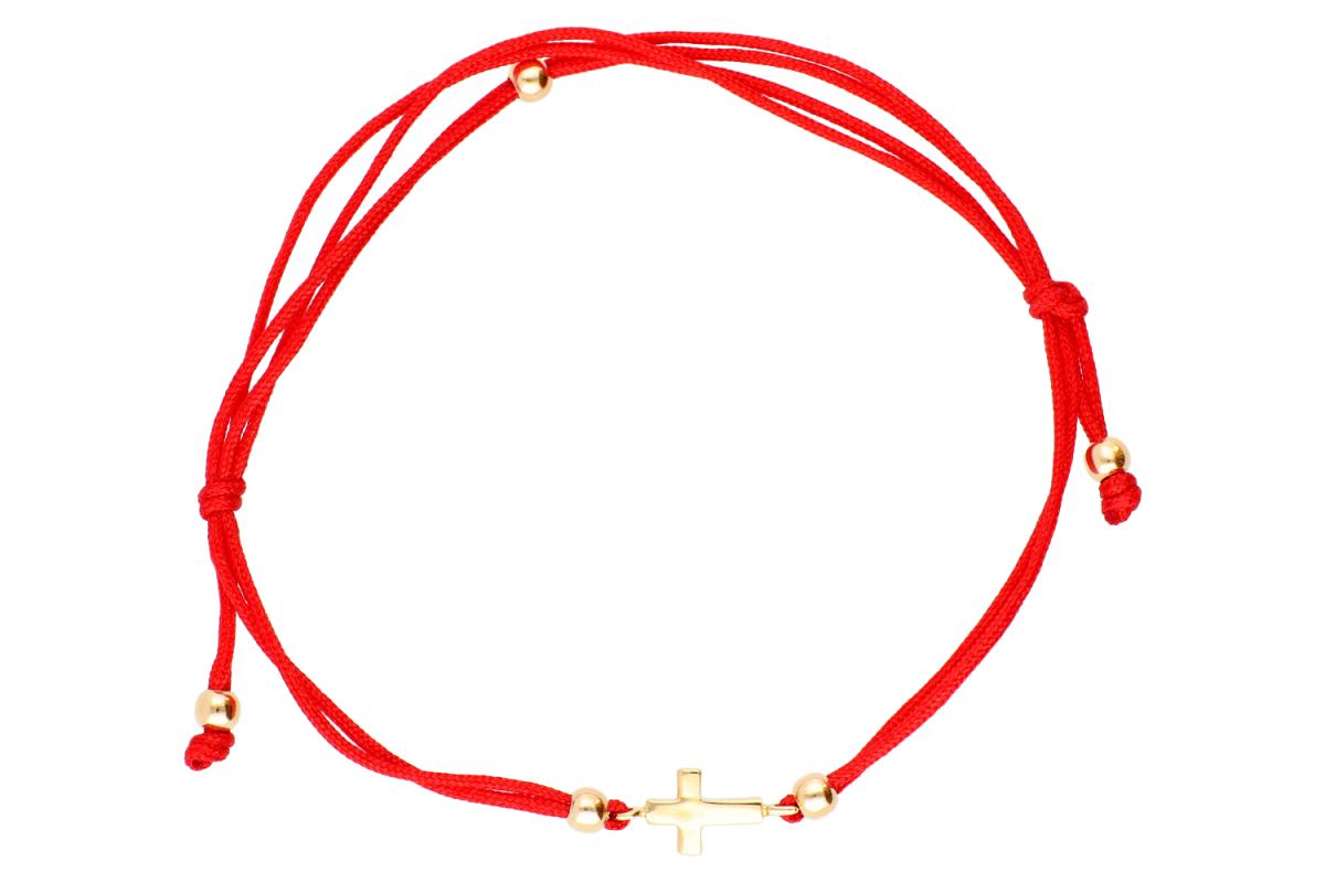 Bijuterii aur online - Bratari cu snur dama aur 14K galben cruciulita