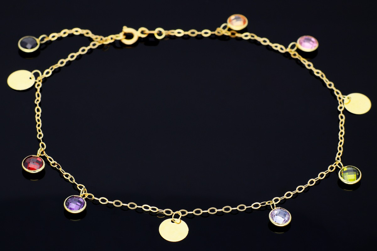Bratara din aur 14K de picior banuti zirconii colorate