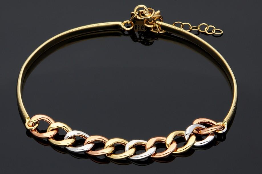 Bratara fixa semi-mobila din aur 14K galben, alb si roz