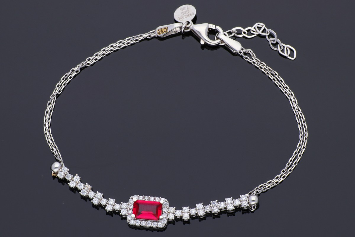 Bratara mobila pandantiv irconia rubin bijuterii aur 14k