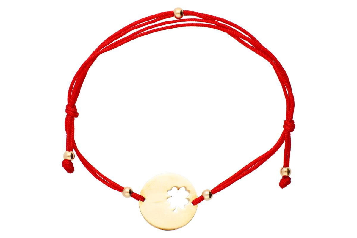 Bijuterii aur - Bratari cu snur aur 14K galben banut trifoi