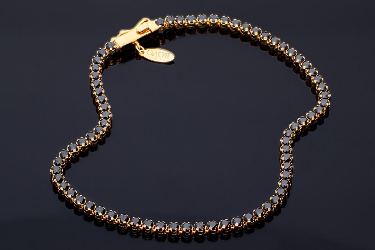 Bijuterii aur online - Bratara mobila aur 14K galben model tenis zirconii negre