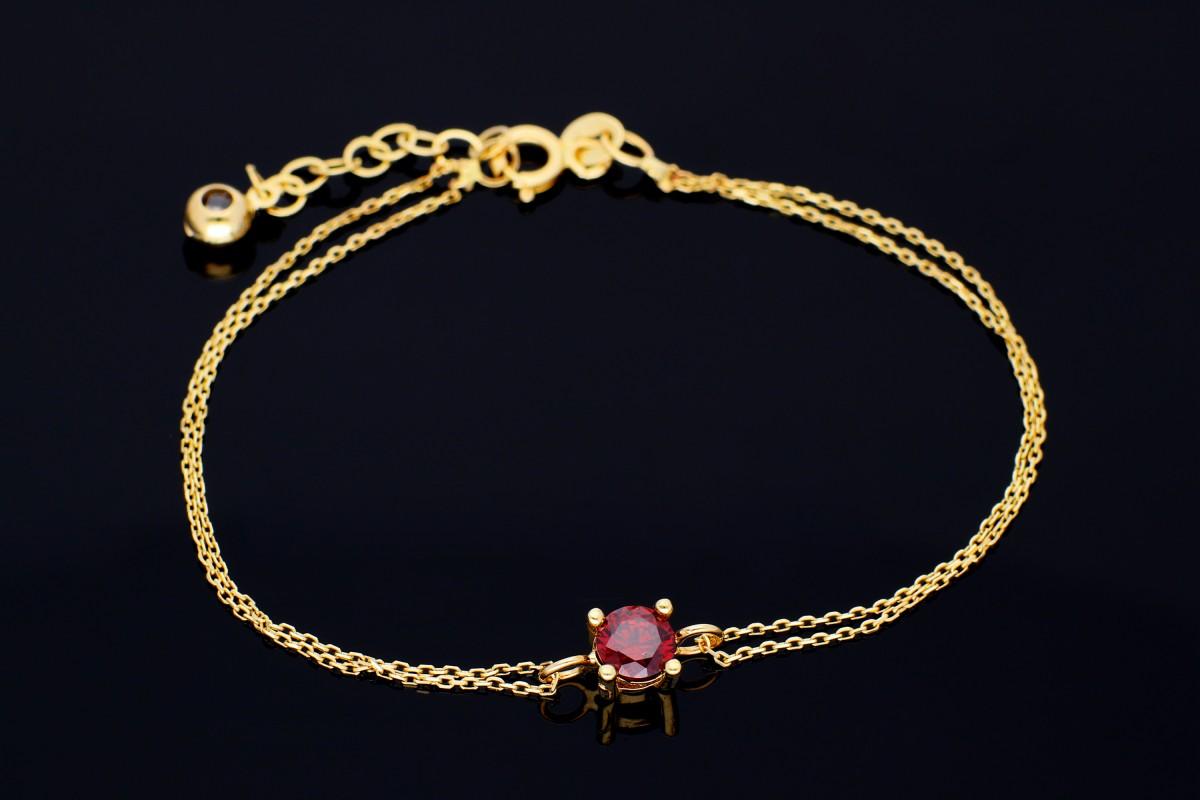 Bijuterii aur online - Bratara mobila dama din aur 14K galben zirconia rubin