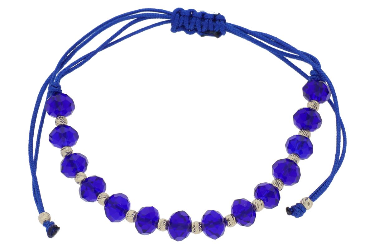 Bratari cu snur aur 14K galben  bilute albastre