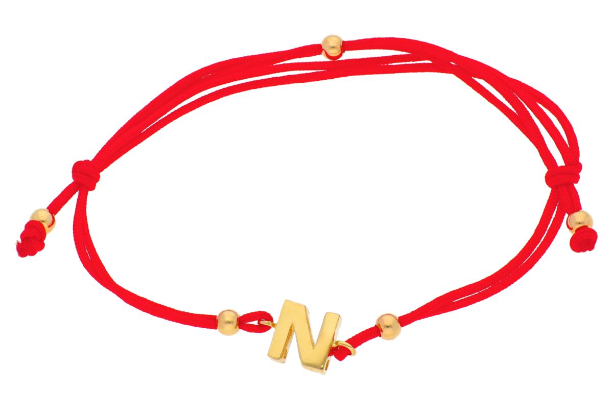 Bratari cu snur din aur 14K galben  initiala N