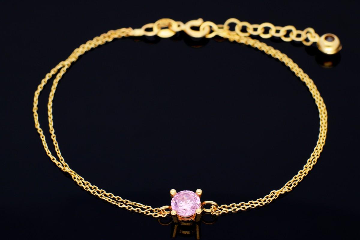 Bijuterii aur - Bratara mobila din aur 14K galben zirconia roz