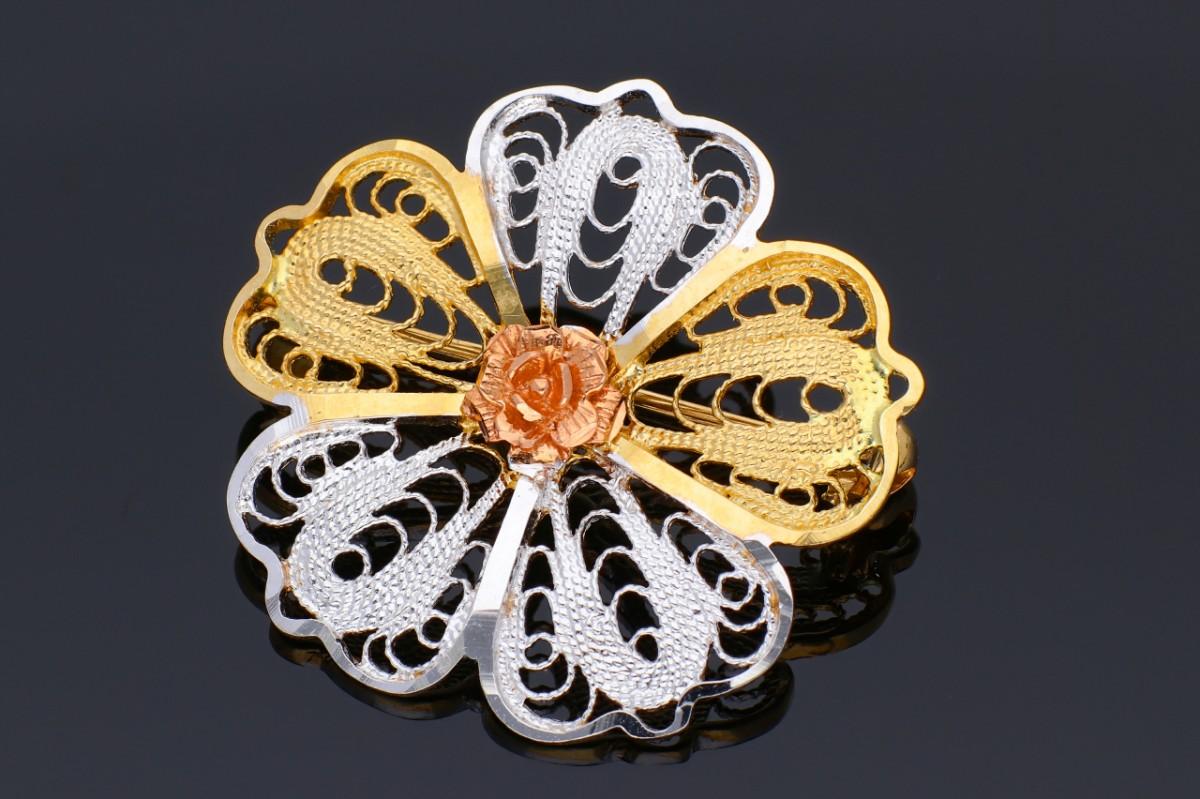 Brose din aur 14K galben, alb si roz