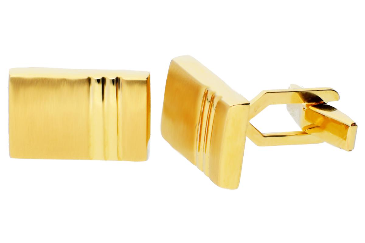 Bijuterii aur online - Butoni aur 14K galben dreptunghi