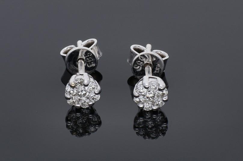 Bijuterii aur -Cercei din aur 14K alb cu diamante