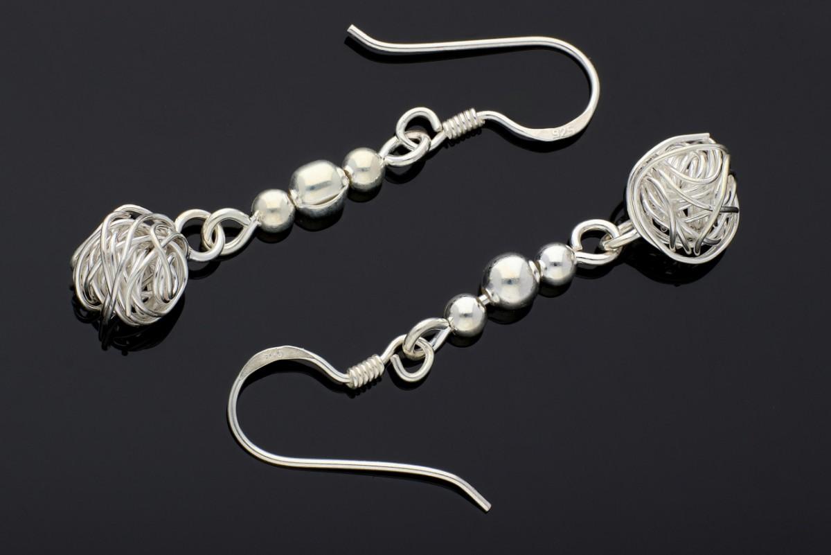 Cecei din argint cu pandant nod