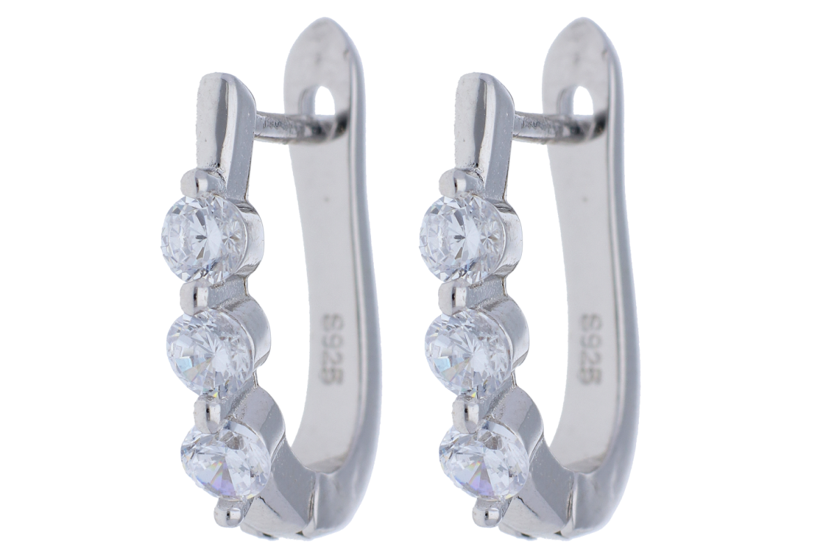 Cercei argint 925 cu zirconii albe