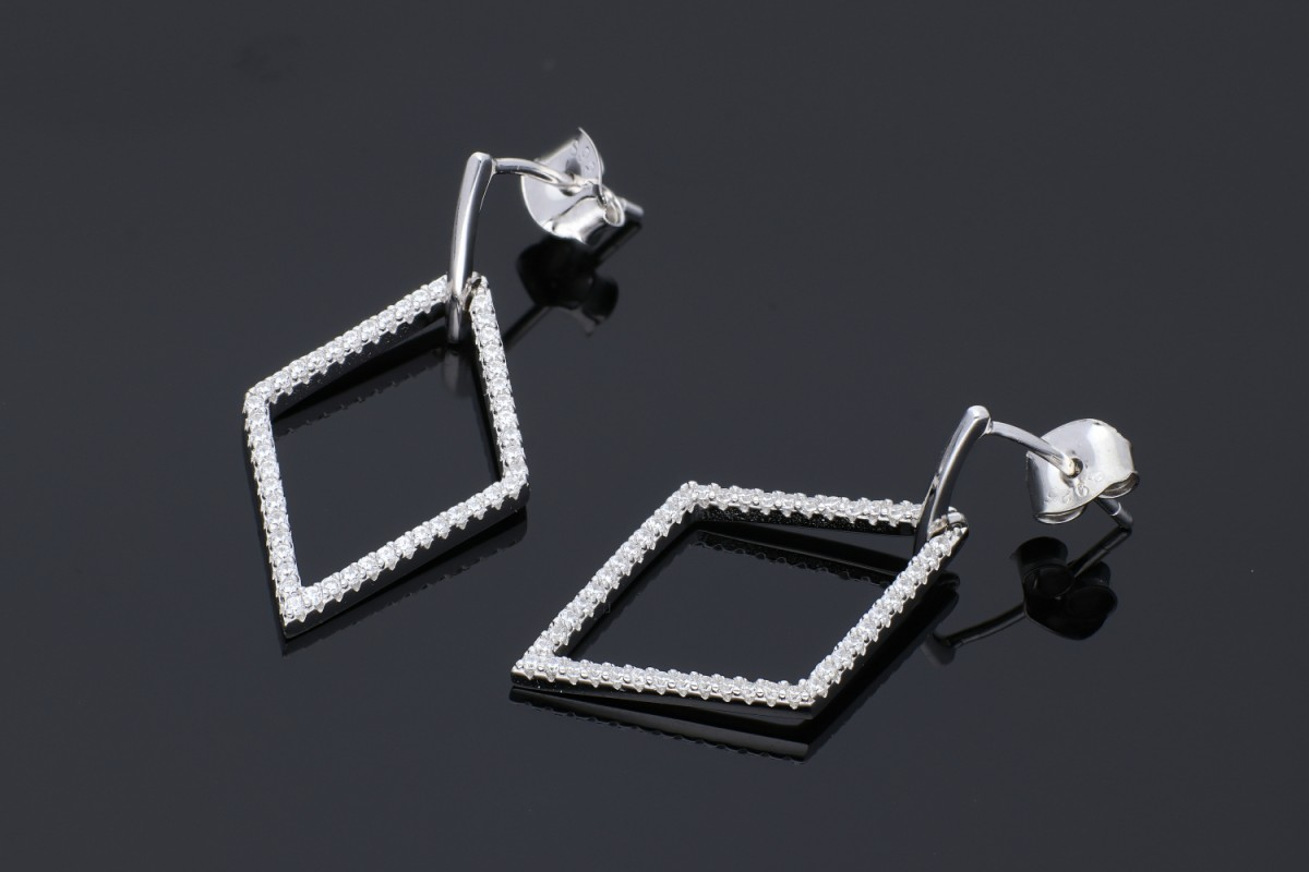 Cercei argint 925 romb cu zirconii albe