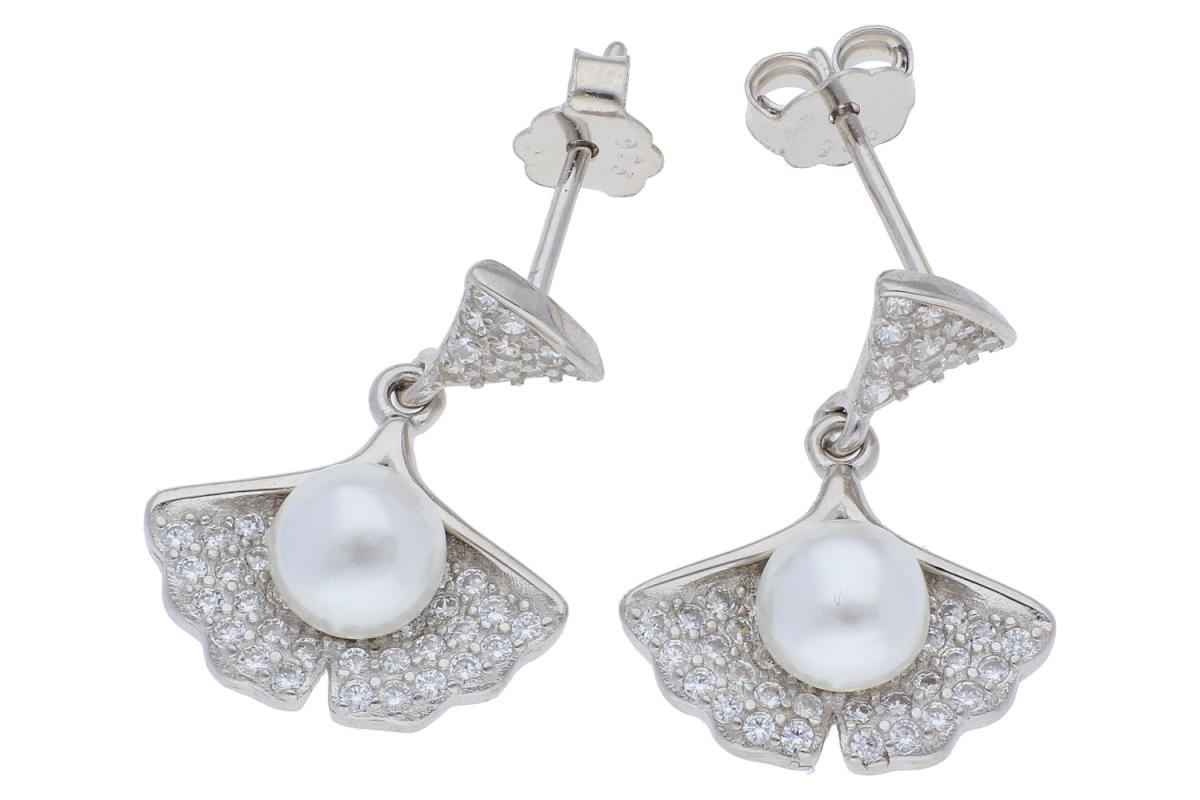 Cercei argint 925 scoica cu perla si zirconii albe