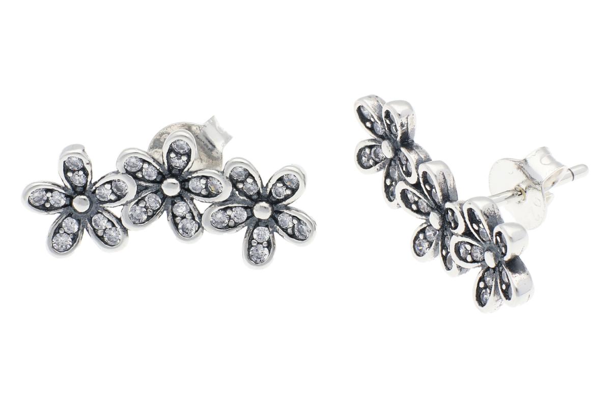 Cercei argint cu surub floricele