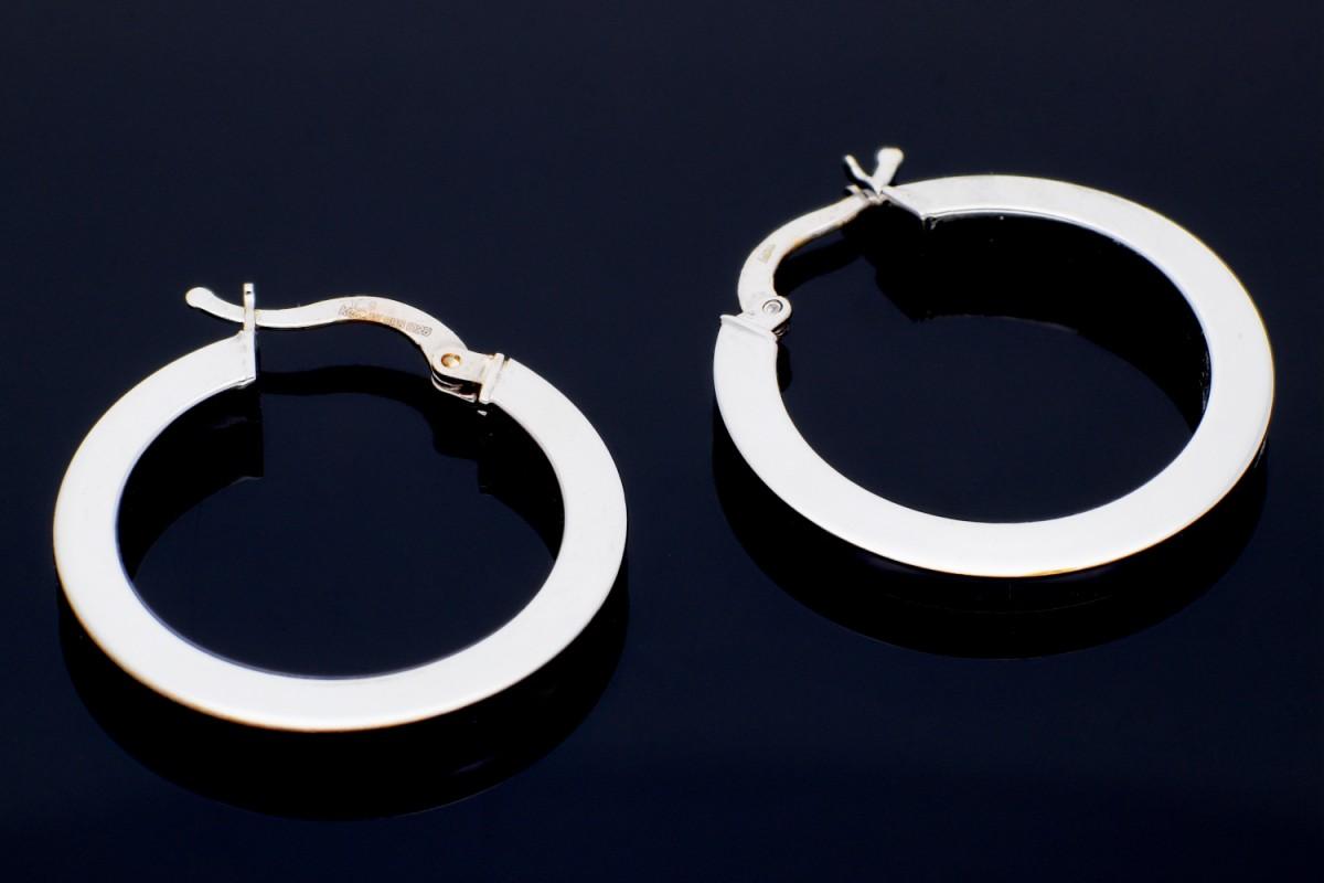 Bijuterii aur online - Cercei rotunzi din aur 14K alb