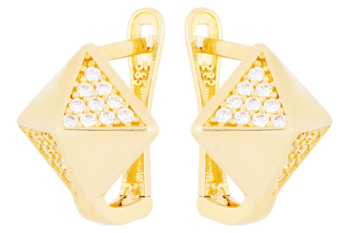 Bijuterii aur online - Cercei tortite din aur 14K galben