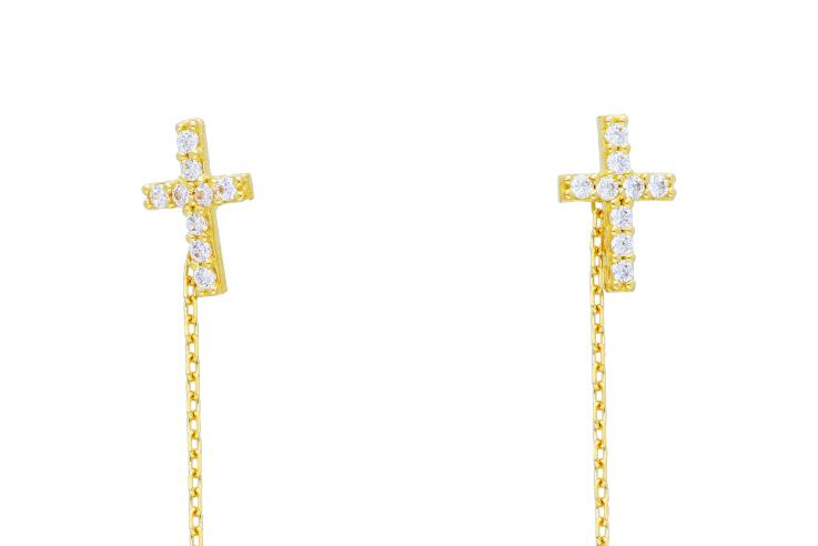 Cercei aur 14K bijuterii cruciulita