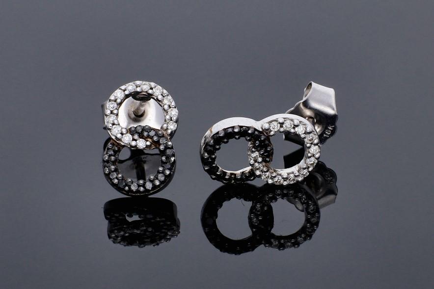 Bijuterii aur online -Cercei aur 14K alb cu diamante albe si negre