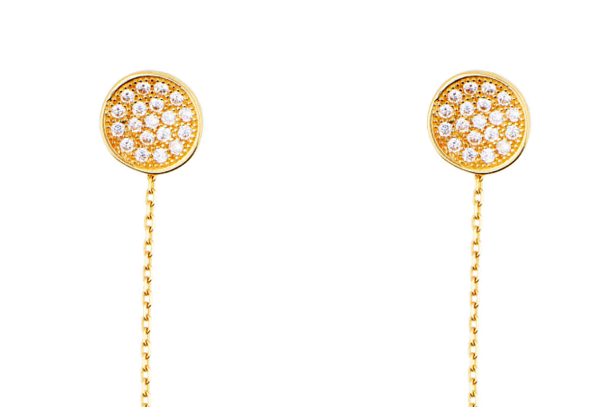 Bijuterii aur online - Cercei cu lant aur 14K galben