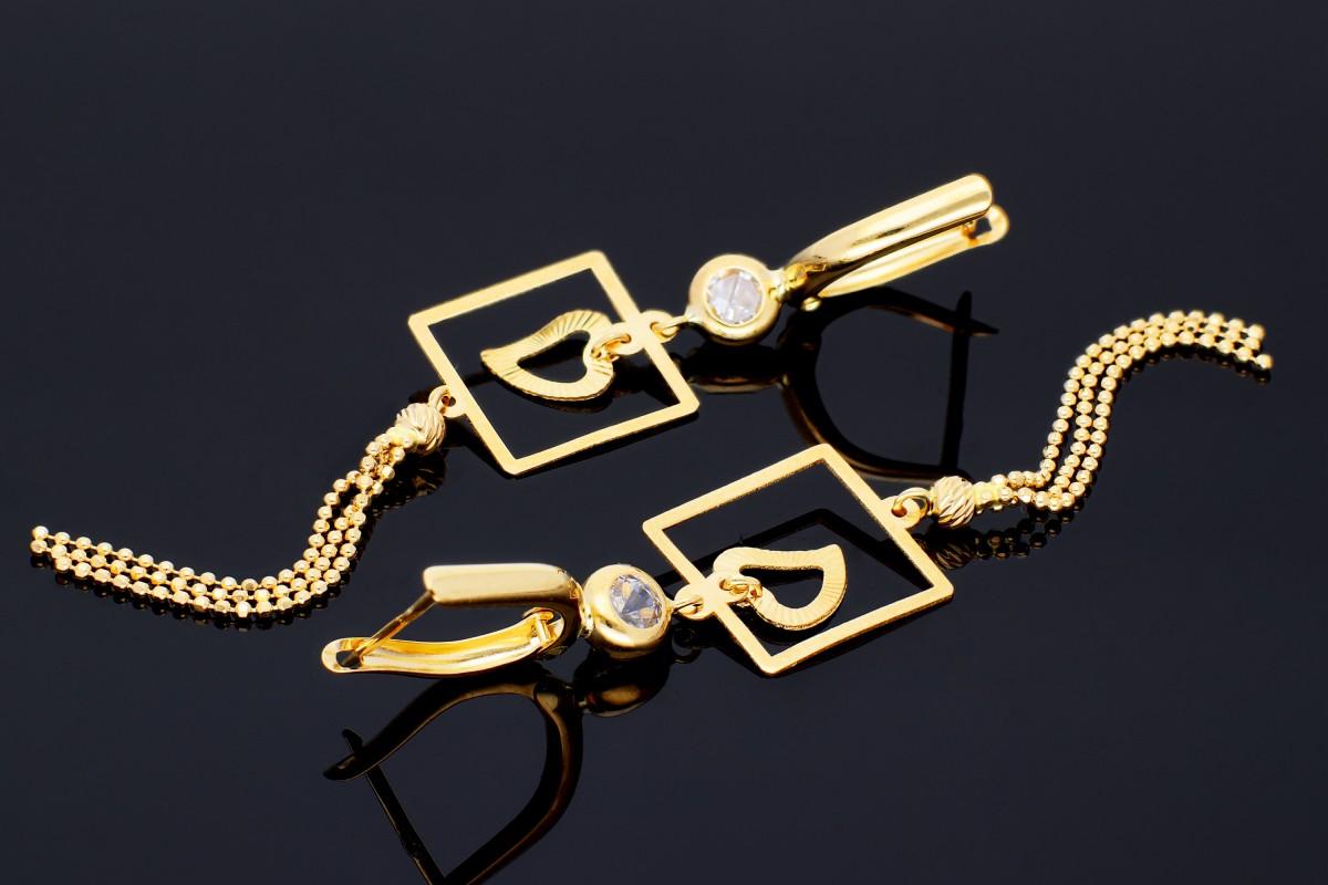 Bijuterii aur online - Cercei lungi dama aur 14K galben inimioara